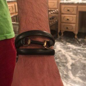 Gucci black leather wrap around bracelet